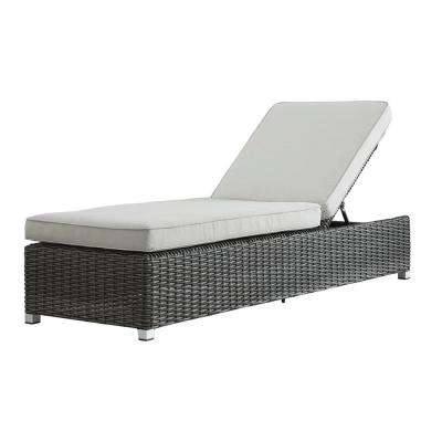 Camari Charcoal Wicker Adjustable Outdoor Chaise Lounge Chair with Beige Cushion