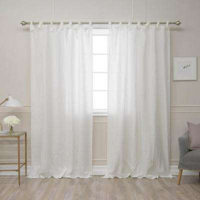 Ivory 96 in. L Abelia Belgian Flax Linen Romantic Tie Top Curtain Panel