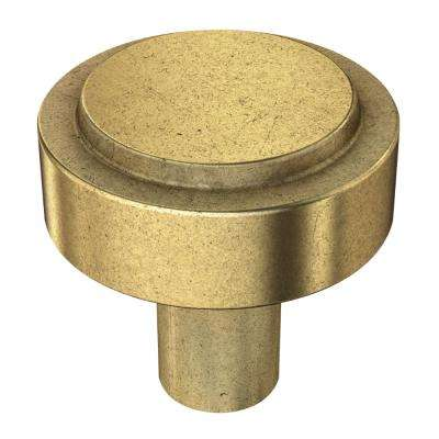 Soft Industrial 1-1/4 in. (32mm) Bedford Brass Round Cabinet Knob