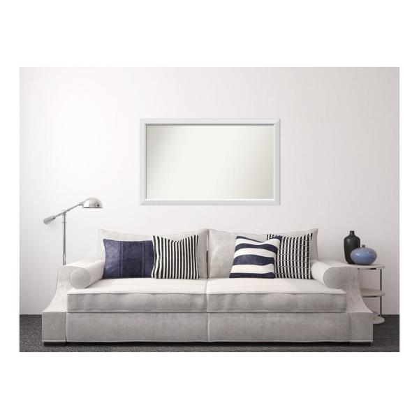 Medium Rectangle White Modern Mirror (32 in. H x 52 in. W)
