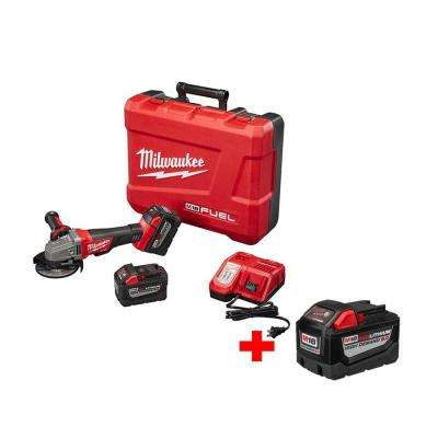 M18 FUEL 18-Volt Lithium-Ion Brushless 4-1/2 in Cordless Grinder, Paddle Switch No-Lock 9.0Ah Kit W/ Free 9.0Ah Battery