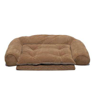 Medium Ortho Sleeper Comfort Couch Pet Bed with Removable Cushion - Chocolate