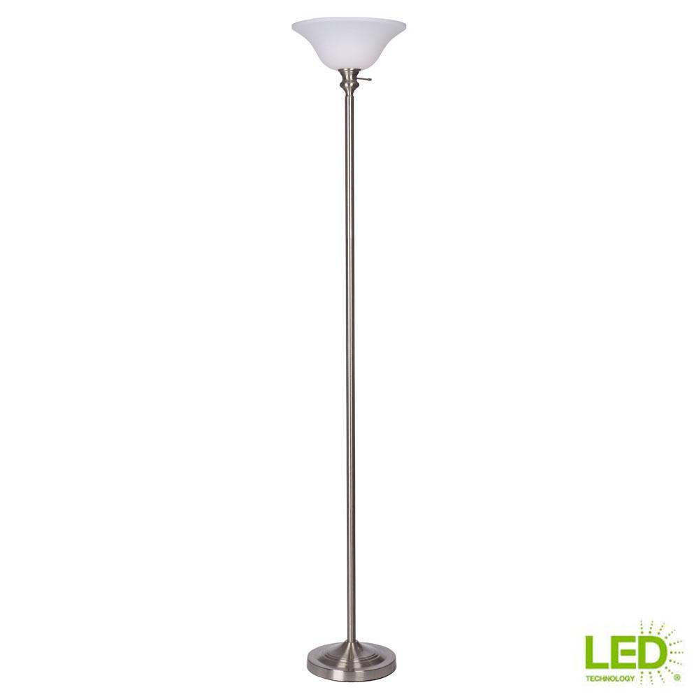 71.25 in. Brushed Nickel Torchiere Floor Lamp, 9.5-Watt LED Bulb Included