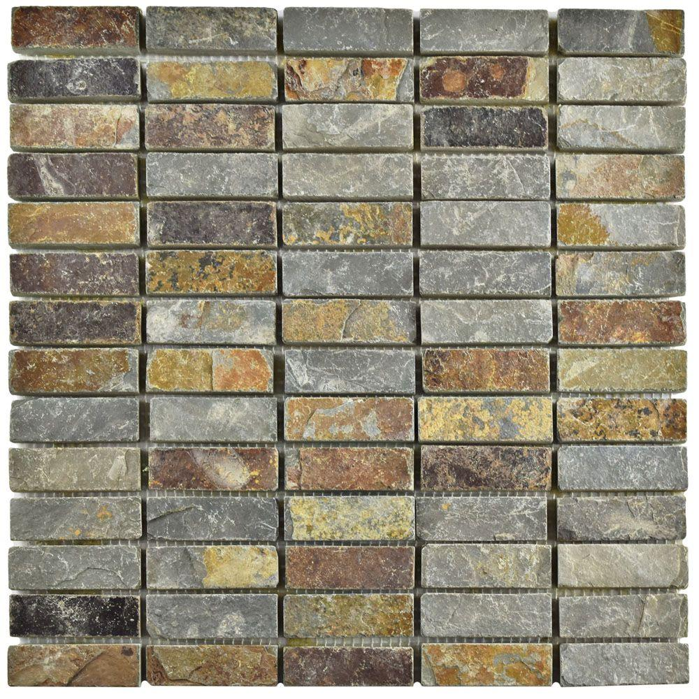 Merola Tile Crag Linear Sunset Slate 12 In X 10 Mm