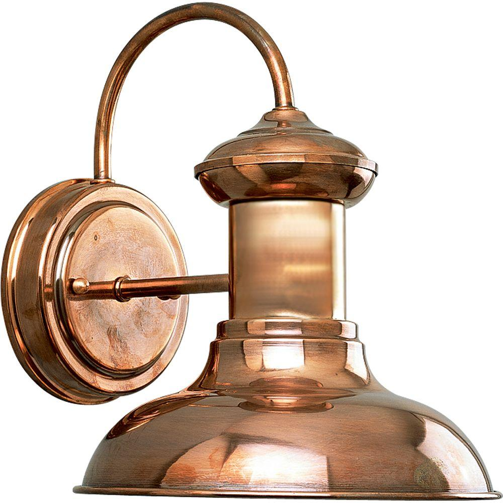Lovely Progress Lighting Brookside Collection 1 Light Outdoor 9.75 Inch Copper  Wall Lantern P5721 14   The Home Depot
