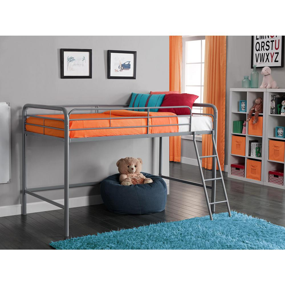 Alyssa Silver Twin Metal Kids Loft Bed