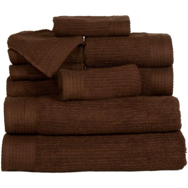 Lavish Home 10-Piece Ribbed Egyptian Cotton Towel Set in Chocolate 67-0021-C