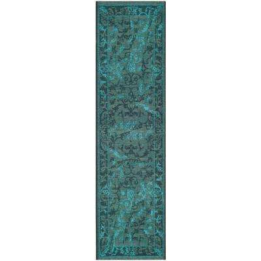 Palazzo Black/Turquoise 2 ft. x 7 ft. Runner Rug