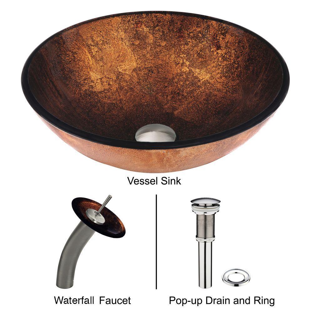 VIGO Glass Vessel Sink in Russet with Waterfall Faucet Set in Brushed Nickel by VIGO