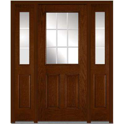 64 in. x 80 in. Internal Grilles Right-Hand 1/2-Lite Clear Stained Fiberglass Oak Prehung Front Door with Sidelites