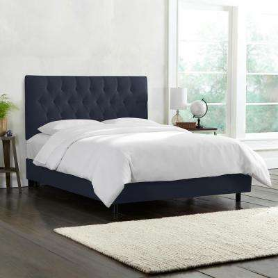 Linen Navy Twin Diamond Tufted Bed
