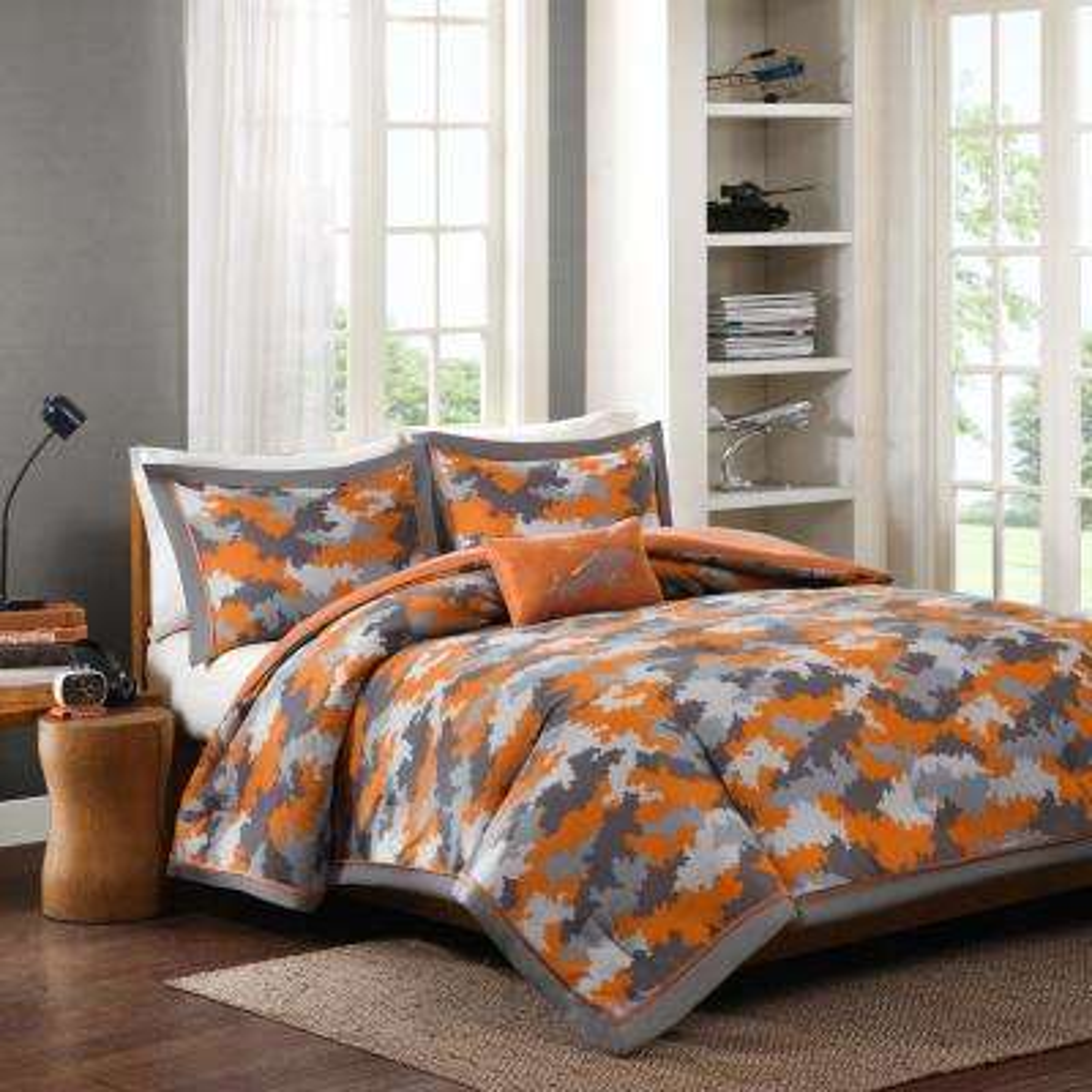 Mikey 4-Piece Orange Full/Queen Abstract Comforter Set