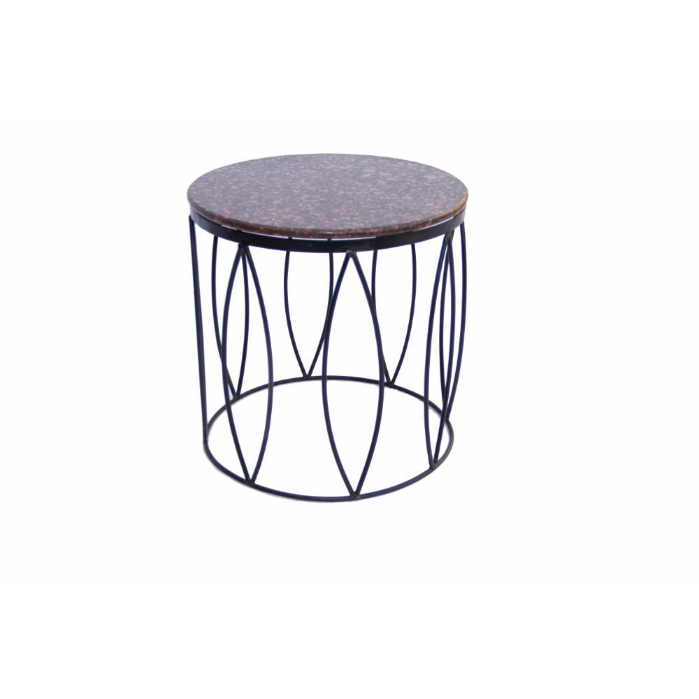 Benzara Brown Contemporary Style Side Table With Iron Base And Marble Top