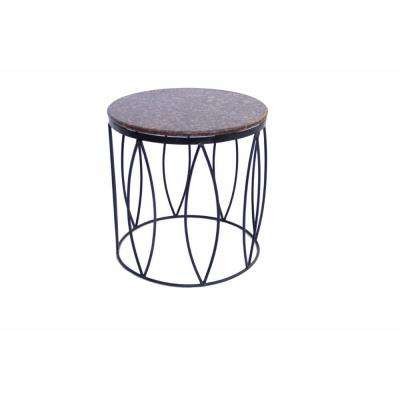 Brown Contemporary Style Side Table with Iron Base and Marble Top