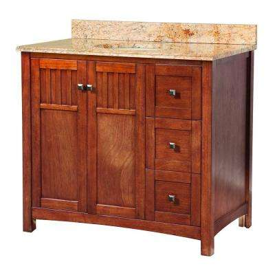 Knoxville 37 in. W x 22 in. D Vanity in Nutmeg with Vanity Top and Stone Effects in Tuscan Sun