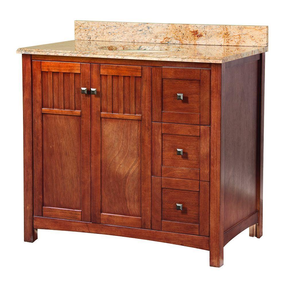 Home Decorators Collection Knoxville 37 in. W x 22 in. D Vanity in Nutmeg with Vanity Top and Stone Effects in Tuscan Sun