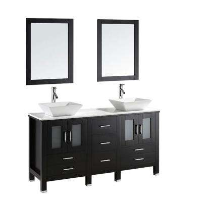 Bradford 60 in. W Bath Vanity in Espresso with Stone Vanity Top in White with Square Basin and Mirror and Faucet