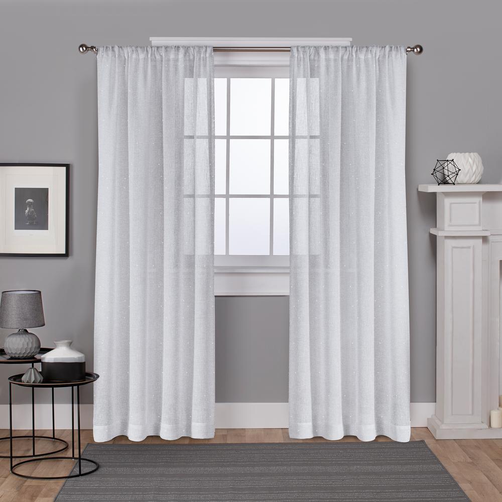 Foil Belgian 54 in. W x 84 in. L Sheer Rod Pocket Top Curtain Panel in Winter White (2 Panels)