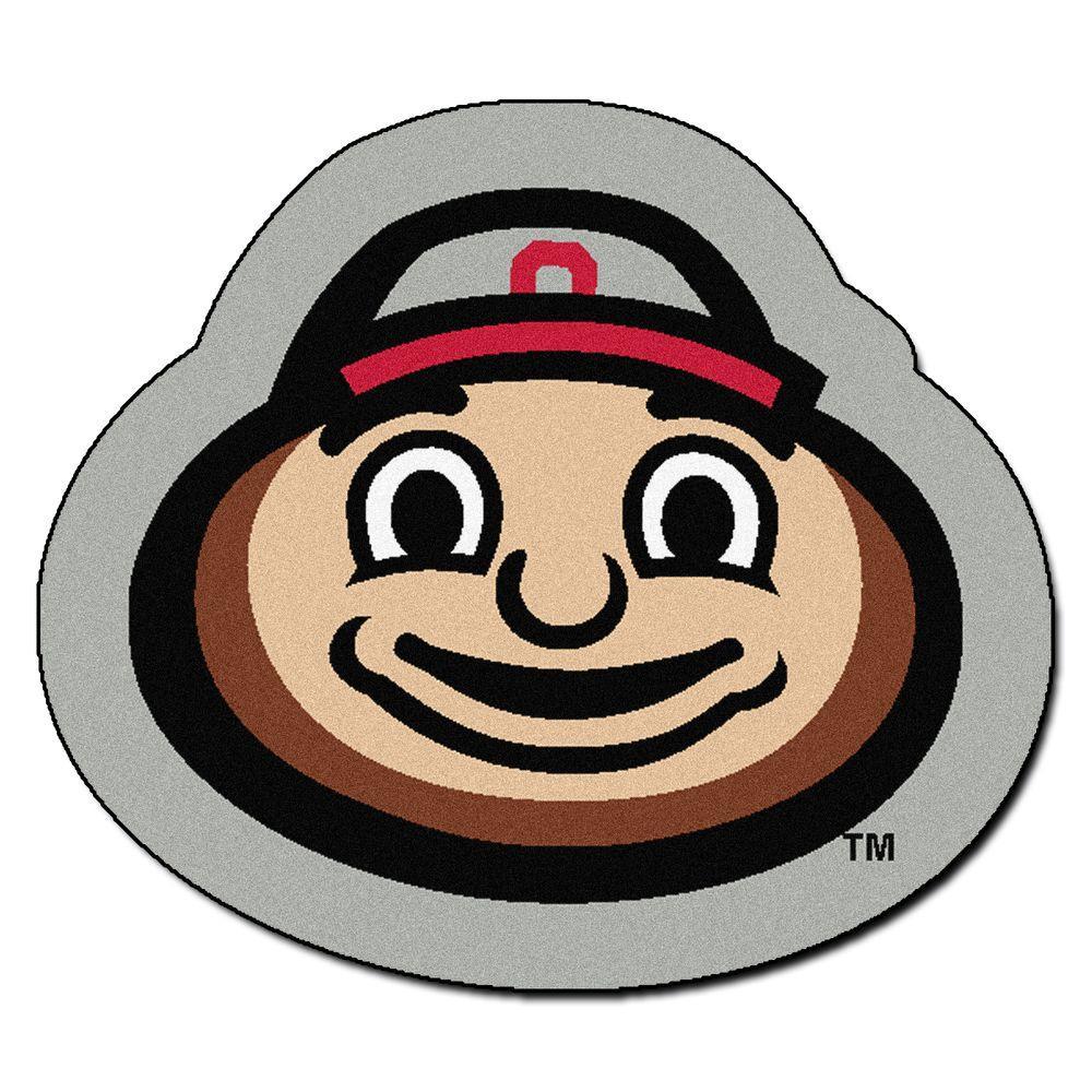 Fan Mats Ncaa Ohio State University Brutus Logo Gray 3 ft...