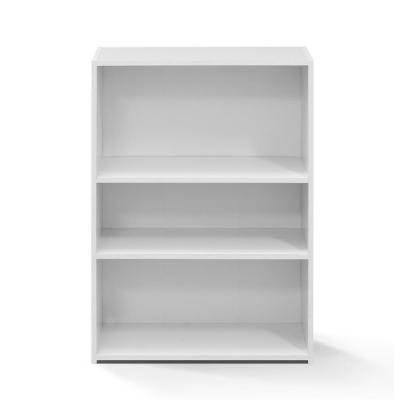 Wright 35.28 in. Soft White Faux Wood 3-shelf Standard Bookcase with Adjustable Shelves