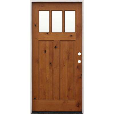 36 in. x 80 in. Golden Left-Hand Inswing 2-Panel 3-Lite Clear Insulated Glass Alder Prehung Prefinished Entry Door