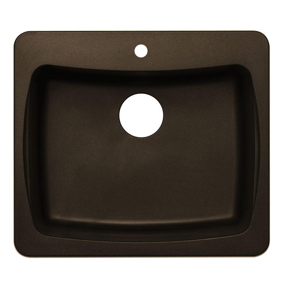 null Dual Mount Granite 25 in. 1-Hole Single Basin Kitchen Sink in Metallic Chocolate