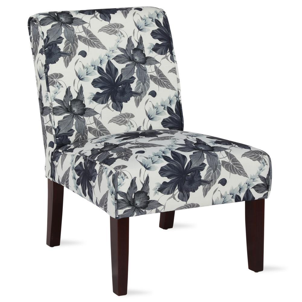 Teagan Flower Pattern Armless Accent Chair