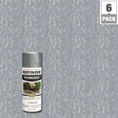 12 oz. Silver Protective Enamel Hammered Spray Paint (6-Pack)