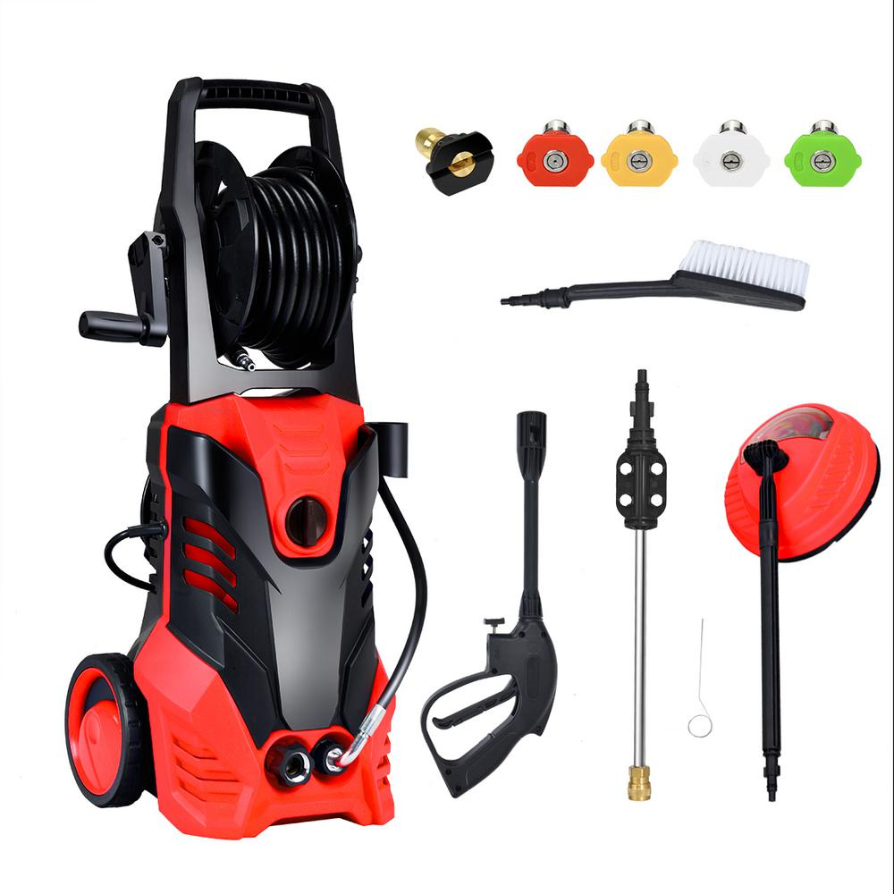 Costway 3000 Psi 2 Gpm Hot Cold Water Electric High Pressure Washer With Patio Cleaner And 5 Nozzles Ep24646re The Home Depot
