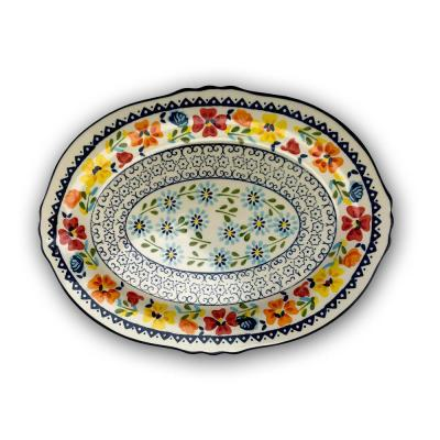 Luxembourg 14 in. Multicolored Stoneware Oval Platter