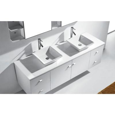 Clarissa 72 in. W Bath Vanity in White with Stone Vanity Top in White with Square Basin and Mirror and Faucet