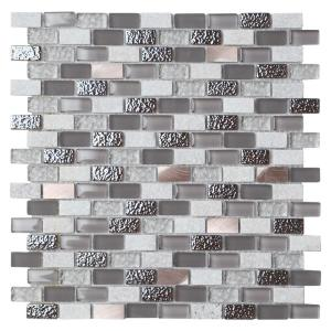 Chelsea Gray 11.97 in. x 11.97 in. Brick Joint Polished/Matte Marble Glass Metal Mosaic Wall Tile (0.97 sq. ft./Ea)