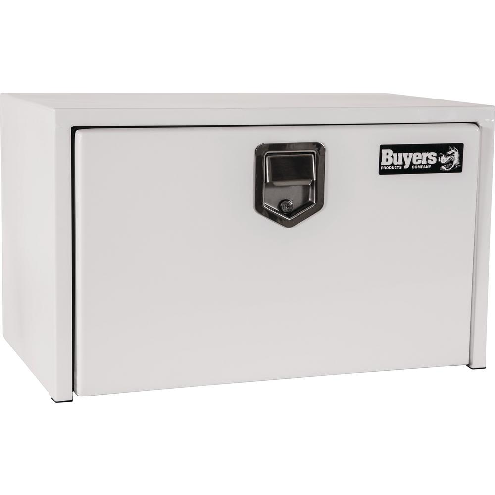 24 in. White Steel Underbody Tool Box with Stainless Steel Rotary