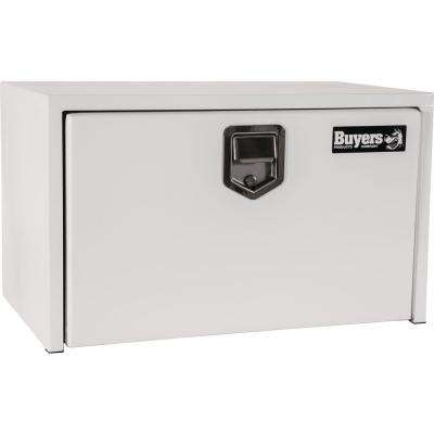 24 in. White Steel Underbody Tool Box with Stainless Steel Rotary Paddle Latch
