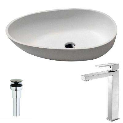 Trident 1-Piece Man Made Stone Vessel Sink in Matte White with Enti Faucet in Brushed Nickel