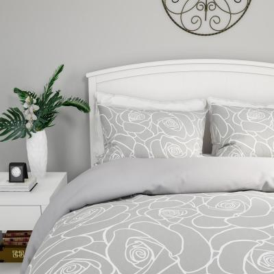 3-Piece Soft Grey With White Rose Print Full/Queen Comforter Set
