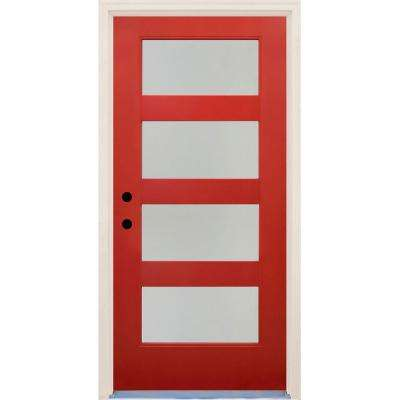 36 in. x 80 in. Elite Engine Satin Etch Glass Contemporary 4 Lite Painted Fiberglass Prehung Front Door with Brickmould
