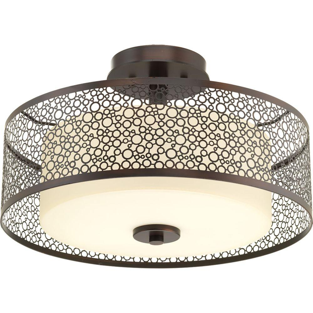 Progress Lighting Mingle Collection 2 Light Antique Bronze Flushmount With Natural Parchment Gl