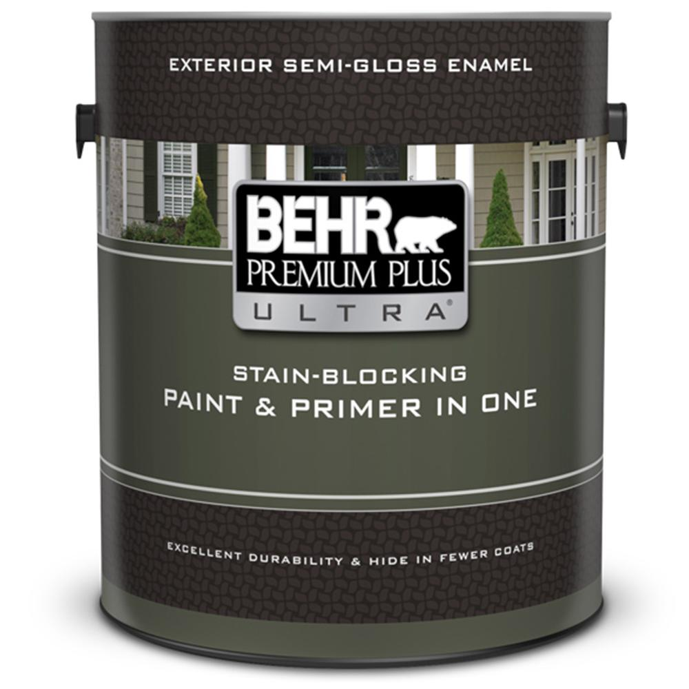 Behr premium plus ultra 1 gal ultra pure white semi gloss enamel exterior paint and primer in for Best exterior paint and primer in one