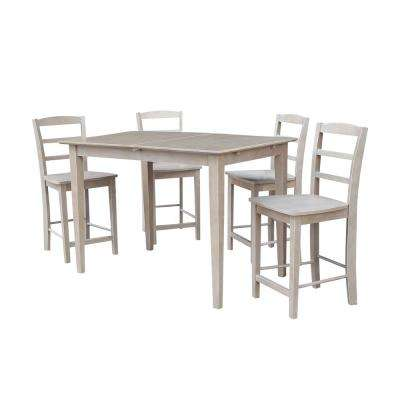 Solid Wood 5-Piece Weathered Taupe Gray Dining Set