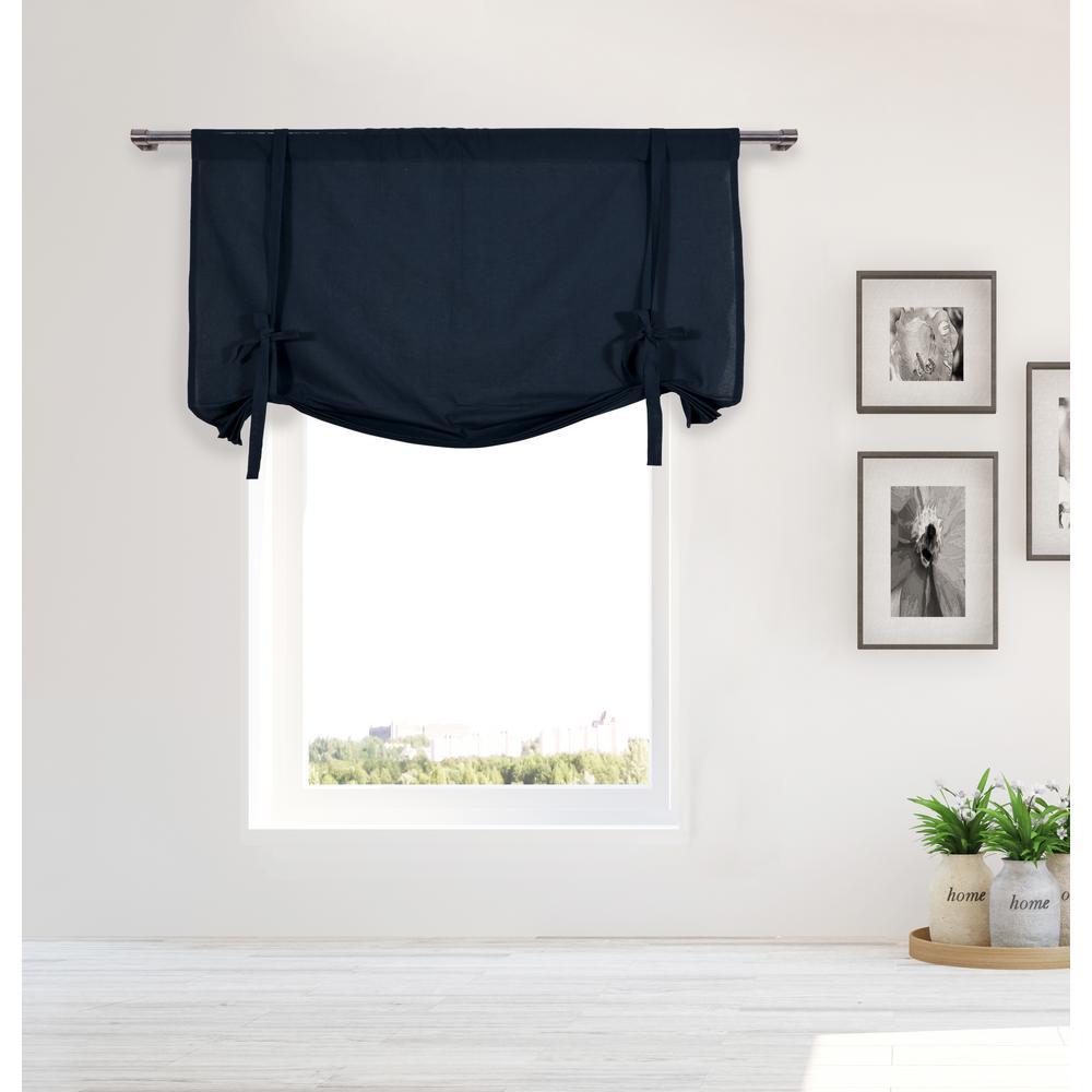 Kimi Navy Solid Cotton Pole Top Tie Up Room Darkening Window Panel - 42 in. W x 63 in. in. L (2-Piece)