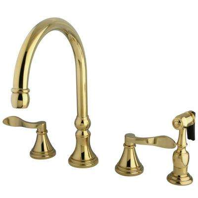 French 2-Handle Standard Kitchen Faucet with Side Sprayer in Polished Brass