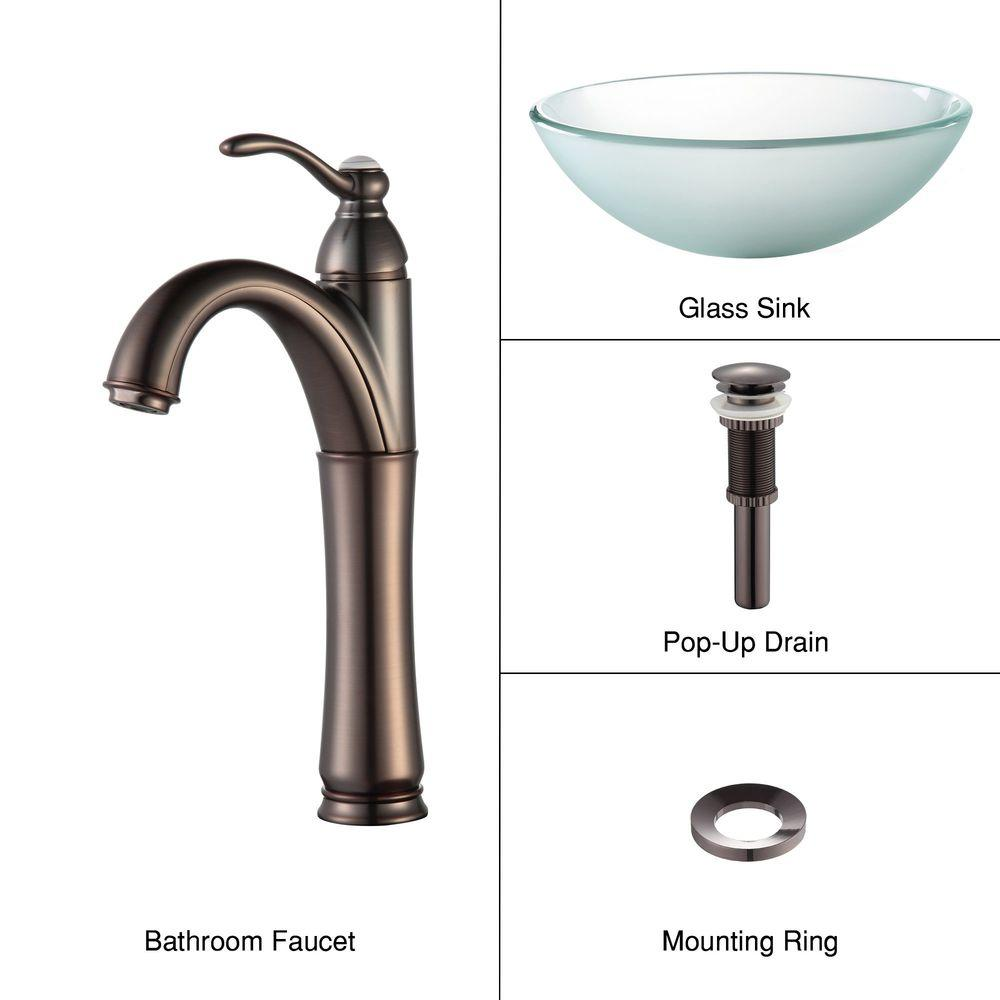 KRAUS Frosted Glass Vessel Sink in Clear with Single Hole Single-Handle High-Arc Riviera Faucet in Oil Rubbed Bronze