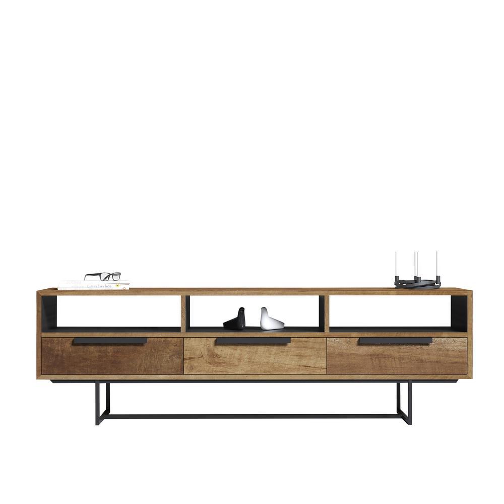 Parisian Factory Multi-Coloured Teak 72in 3-Shelf Accent Cabinet Console Table