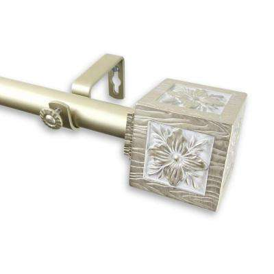 28 in. - 48 in. Telescoping 1 in. Curtain Rod Kit in Light Gold with Ophelia Finial