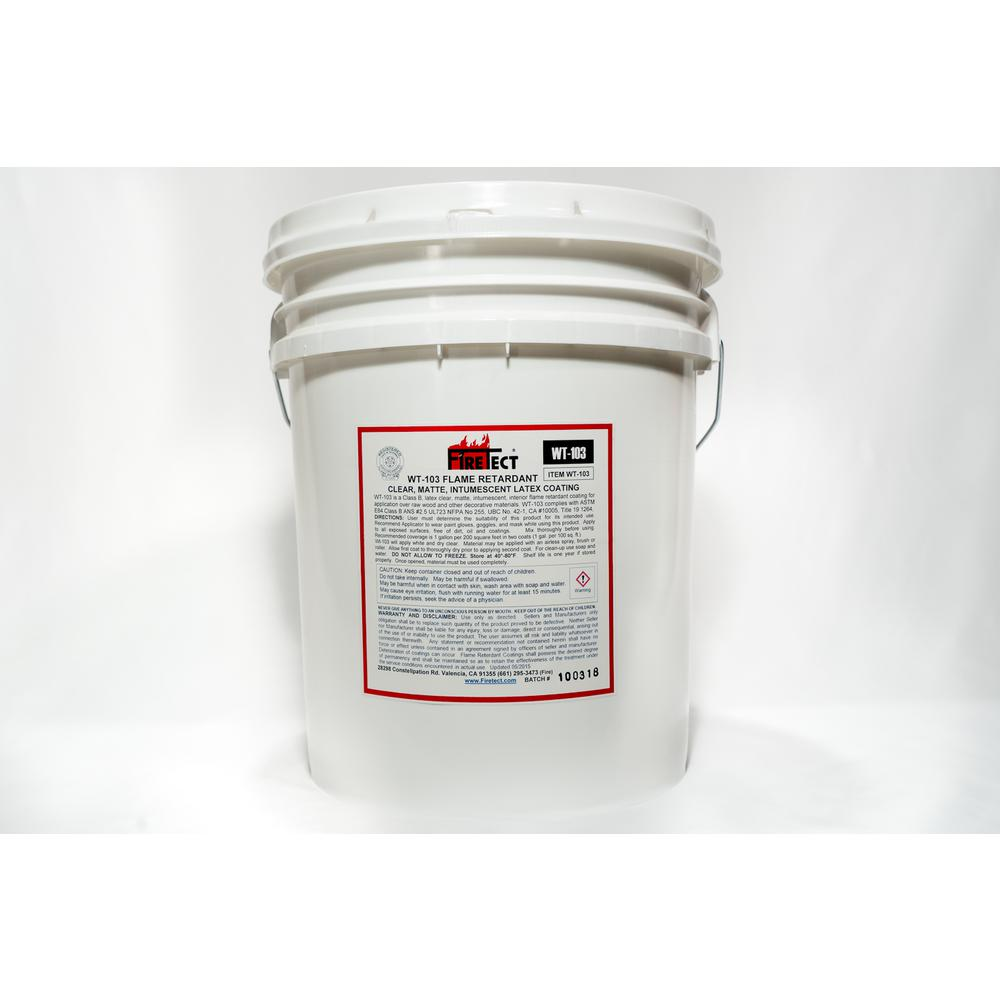 Firetect WT-103 5 gal. Clear Matte Latex Interior Intumescent Fireproofing Flame Retardant Coating for Wood