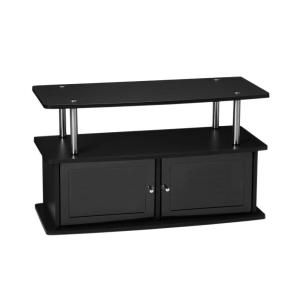 36 in. Black Particle Board TV Stand 36 in. with Doors