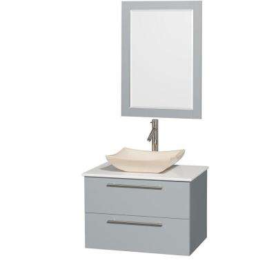 Amare 30 in. W x 20.5 in. D Vanity in Dove Gray with Solid-Surface Vanity Top in White with Ivory Basin and Mirror