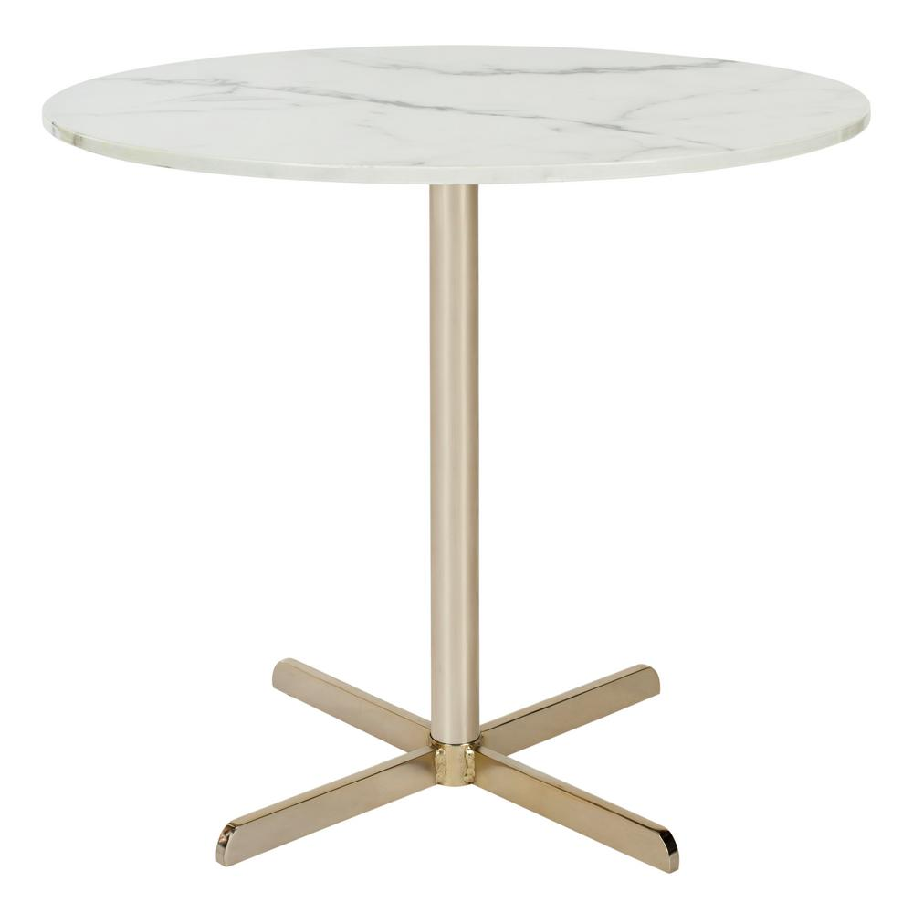 Safavieh winnie white marble and brass side table