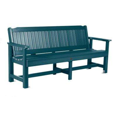 Exeter 77 in. 3-Person Nantucket Blue Plastic Outdoor Bench